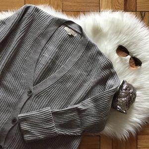 LOFT Long Grey Ribbed Button Cardigan